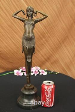 Signée Art Déco Chiparus Ventre Danseuse Marbre Affaire Sculpture Bronze Statue