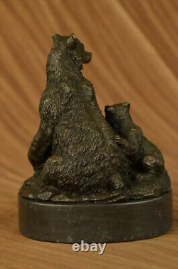 Signée Art Déco Noir Ours Famille Bronze Sculpture Marbre Statue Figurine