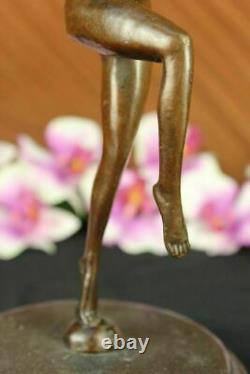 Signée Art Déco Nu Fille Danseuse Bronze Statue Marbre Figurine Base Large Décor