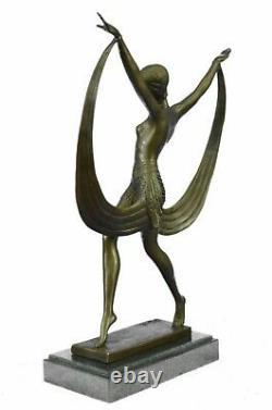 Signée Art Déco Nu Fille Danseuse Fayral Bronze Statue Marbre Base Large