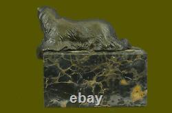 Signée Assis Polar Ours Bronze Livre Fin Deco Marbre Sculpture Statue