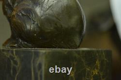 Signée Assis Polar Ours Bronze Livre Fin Deco Marbre Sculpture uvre