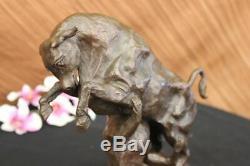 Signée Barye Espagnol Bull Domine Chien Bronze Marbre Base Figurine Sculpture
