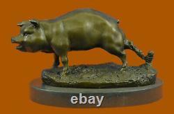 Signée Barye Ferme Animal Cochon 100% Solide Bronze Marbre Base Sculpture Figure