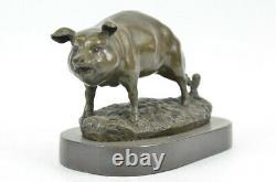 Signée Barye Ferme Animal de Compagnie Cochon Marbre Base Figurine Nr Bronze