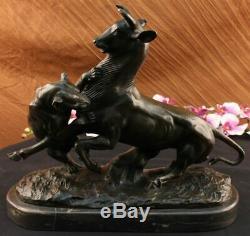 Signée Barye Panthère Attaquant Giselle Marbre Sculpture Statue Bronze Deco