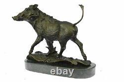 Signée Barye Sauvage Sanglier Sautant Bronze Marbre Sculpture Figurine Art Déco