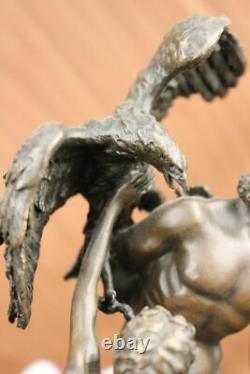 Signée Bologne Zeus Avec Nymphes Et Aigle Bronze Sculpture Statue Marbre Figure