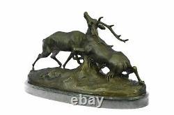 Signée Bronze Renne Statue Hunter Cerfs Elks Détaillé Sculpture Sur Marbre Base