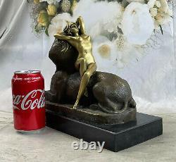 Signée Bronze Sculpture Sphinx Chair Nymphe Mythologie Statue Sur Marbre Base