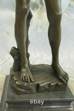 Signée Bronze Statue Chair David Mythologie Sculpture Sur Marbre de Base