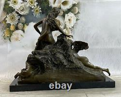 Signée Bronze Style Art Nouveau Sculpture Déesse Ange Détaillé Statue Sur Marbre