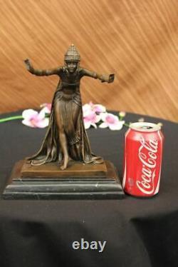 Signée D. H Chiparus, Bronze Art Déco Danseuse Sculpture Nouveau Marbre Figurine