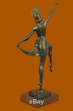 Signée Décor Russe Danseuse Art Déco Bronze Sculpture Marbre Base Statue Figure