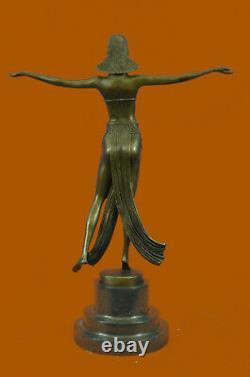 Signée Descomps Ventre Danseuse Bronze Marbre Sculpture Fonte Figurine Décor Nr