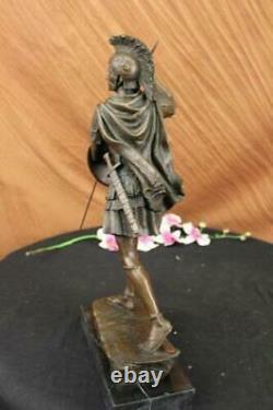 Signée Drouot Romain Legion Soldat Guerrier Bronze Marbre Sculpture Statue Décor