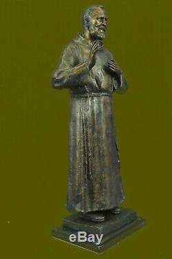 Signée Et Numéroté Édition Limitée Saint Pio Italien Bronze Marbre Sculpture