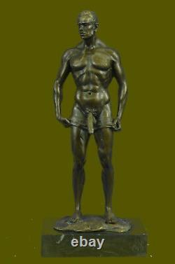 Signée Fait Depict De Chair Gay Homme Bronze Sculpture Marbre Figurine Base