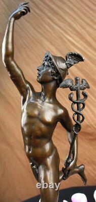 Signée Giambologna Flying Bronze Marbre Sculpture Statue Art Déco Figurine