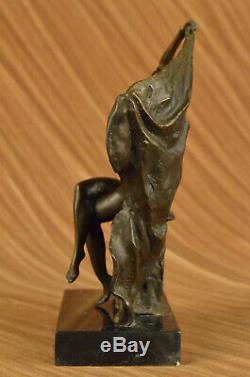 Signée Haut Aldo Vitaleh Art Déco Bronze Chair Fille Marbre Socle Statue