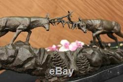 Signée Large Barye Deux Antler Renne Cerfs Bronze Sculpture Figurine Marbre Base
