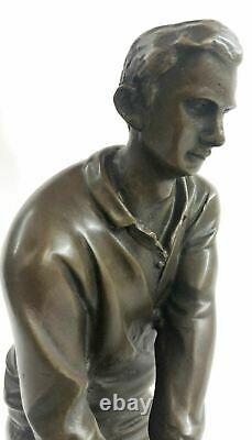 Signée M, Lopez Golfeur Golf Trophée Jeu Sport Bronze Sculpture Marbre Base