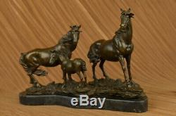 Signée Mene 3 Debout Chevaux Marbre Base Art Figurine Bronze Sculpture Statue
