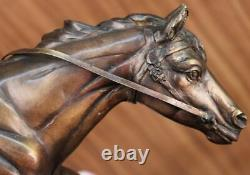 Signée Mene Français Soldat Sur Un Cheval Bronze Marbre Sculpture Statue Affaire