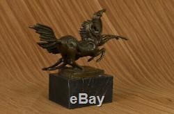 Signée Milo Deux Course Chevaux Marbre Base Art Figurine Bronze Sculpture Statue