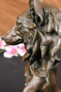 Signée Milo Sauvage Loup Bronze Marbre Buste Sculpture Statue Figurine Art Déco