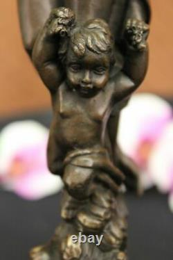 Signée Moreau Chair Femme Avec Ange Bronze Statue Art Déco Fonte Marbre Figurine