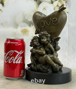 Signée Mythologie Cupidon Eros Marbre Bronze Statue Sculpture Figurine Solde