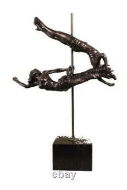 Signée Original Aldo Vitaleh Deux Cirque Bronze Sculpture Statue Marbre Base