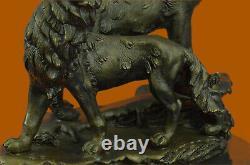 Signée Original Hurlant Loup Bronze Sculpture Marbre Base Statue Cadeau Décor