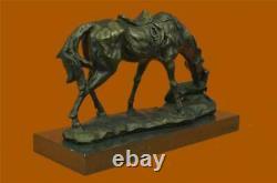 Signée Original Milo Chien et Un Cheval Amitié Bronze Sculpture Marbre Statue