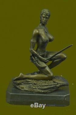 Signée Original Rigide Amazone Guerrier Bronze Sculpture Statue Marbre Figurine