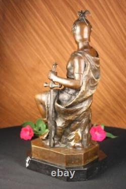 Signée Picault Romain Legion Soldat Guerrier Bronze Marbre Sculpture Statue Déco