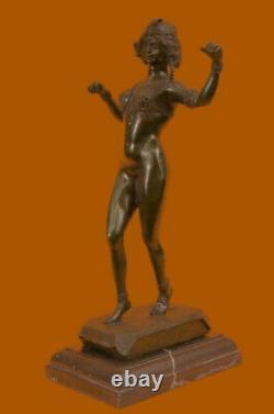 Signée Preiss Allemand Sensuelle Sexy Femme Bronze Marbre Statue Sculpture