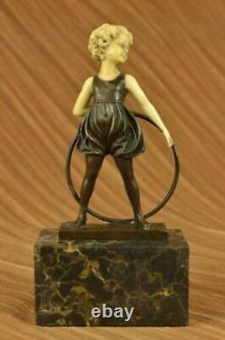 Signée Preiss Innocence Jeune Fille Bronze-Bone Marbre Sculpture Fonte uvre