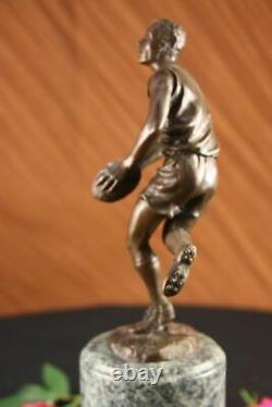 Signée Pure Bronze Sur Marbre NFL Rugby Athlète Figurine Sculpture Décor