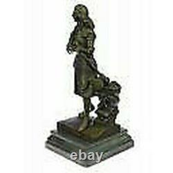 Signée, Saint Joan De Arc Bronze Marbre Sculpture Statue Figurine Figure