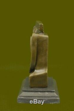 Signée Salvador Dali Abstrait Femme Bronze Marbre Figurine Base Fonte Décor