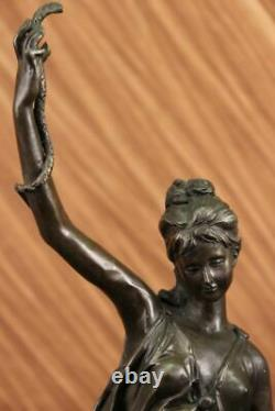 Signée Serpent Charmeur Bronze Marbre Sculpture Art Déco Base Figurine Décor