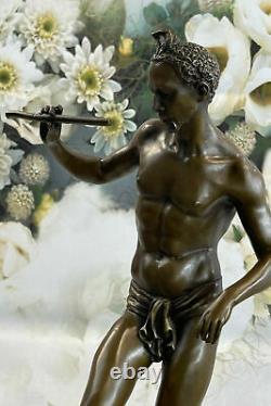 Signée Serpent Charmeur Par Bourgeois Bronze Sculpture Marbre Base uvre