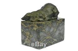 Signée Slepping Polar Ours Bronze Livre Fin Deco Marbre Sculpture Statue