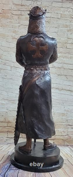 Signée Très Grand Grec Guerrier Bronze Sculpture Marbre Sculpture