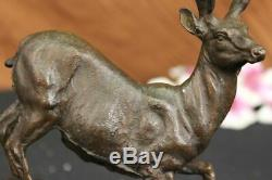 Signée Villanis Buck Mâle Cerf Chasse Cerf Bronze Sculpture Marbre Base Figurine