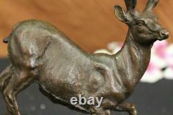 Signée Villanis Buck Mâle Renne Chasse Cerf Bronze Sculpture Marbre Base Figure