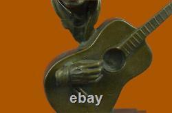 Signée Williams Abstrait Homme Jouer Guitare Bronze Buste Sculpture Marbre Base