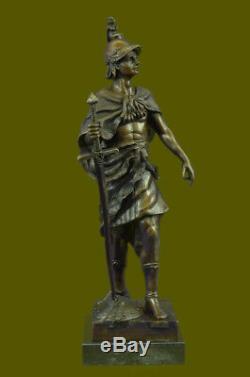 SignéePicaultRomain Soldat Buste Bronze Sculpture Marbre Base Art Solde